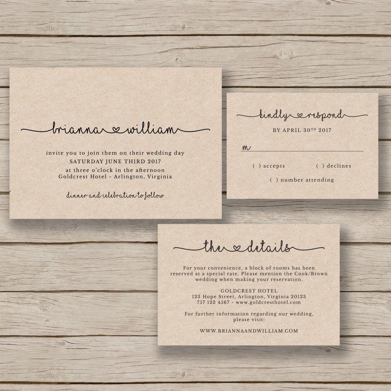 Rustic Wedding Invites Templates Wedding Invitation Template Rustic Wedding Printable