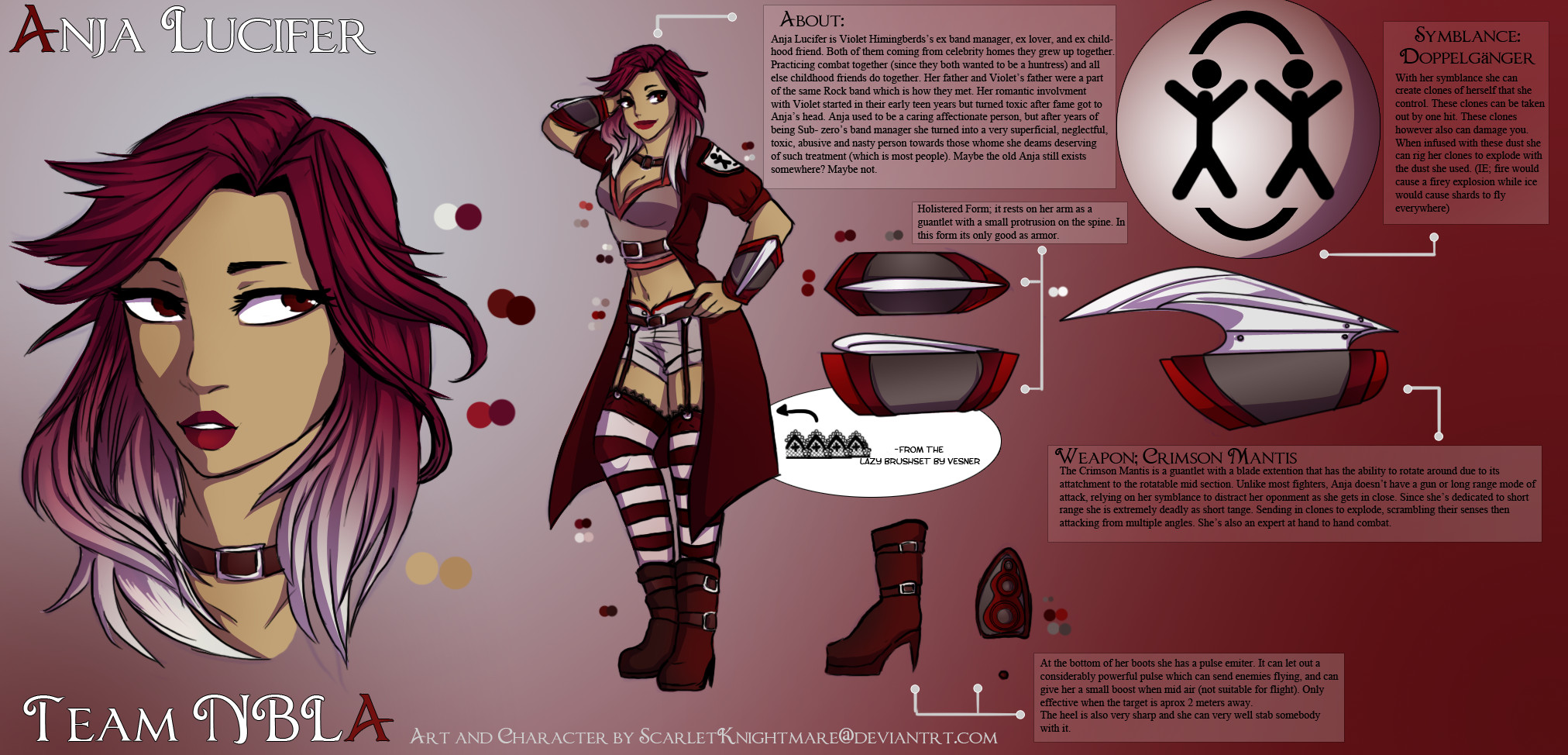 Rwby Oc Template Anja Lucifer [team Nbla] Rwby Oc by Scarletknightmare On