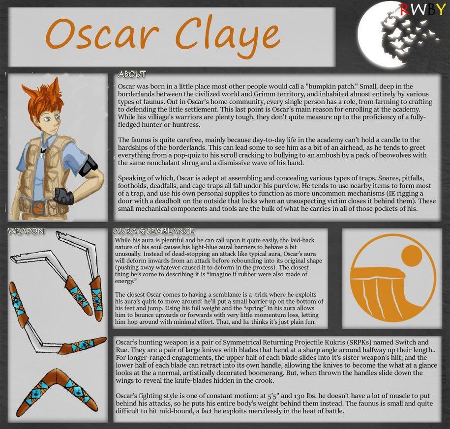 Rwby Oc Template Rwby Oc Bio Template Oscar Claye V2 0 by Gumby1011 On