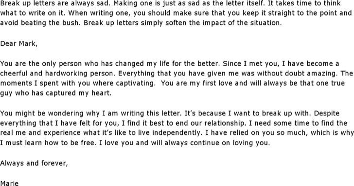 Sad Break Up Letter 6 Break Up Letter Templates Free Download