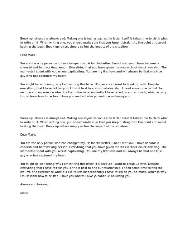 Sad Break Up Letter Break Up Letter Template 5 Free Word Pdf Document