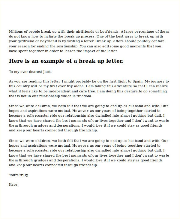 Sad Break Up Letter Break Up Letter Template Printable Free Download
