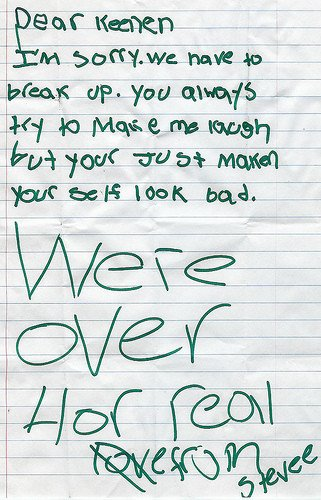 Sad Break Up Letter the Path Of Young Love as Illustrated by Kids' Notes