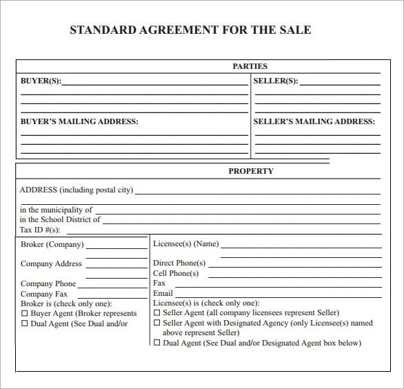 Sales Agreement Template Word 6 Free Sales Agreement Templates Excel Pdf formats
