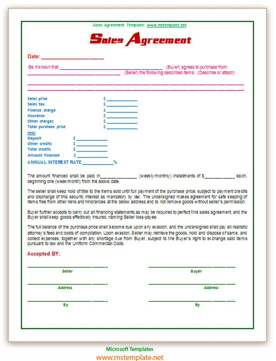 Sales Agreement Template Word Free Word Templates