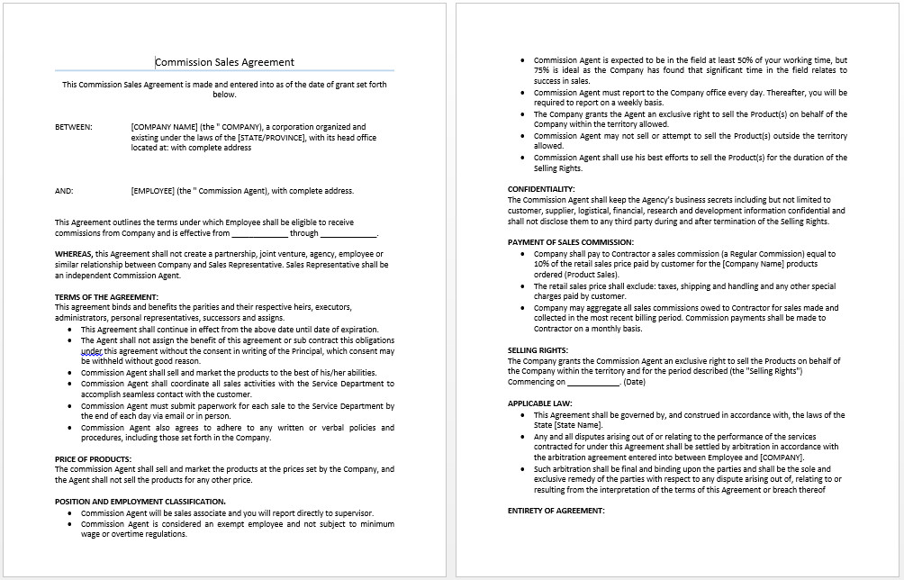 Sales Agreement Template Word Mission Sales Agreement Template Microsoft Word Templates