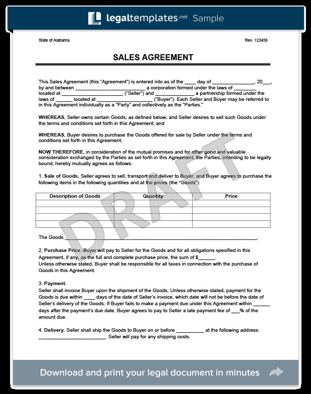 Sales Agreement Template Word Sales Agreement Create A Free Sales Agreement form