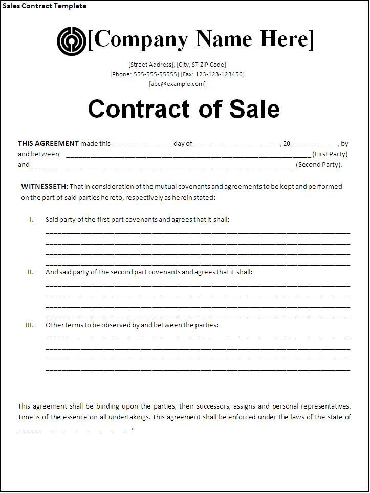 Sales Agreement Template Word Sales Contract Template
