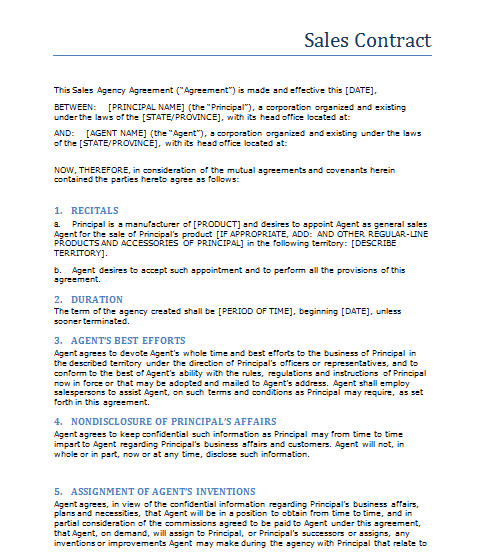 Sales Agreement Template Word Sales Contract Template Word Templates