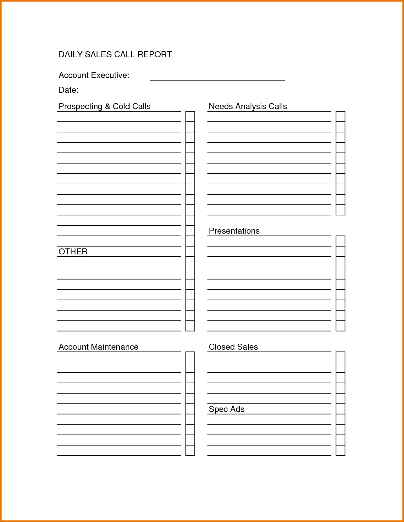 Sales Calls Report Template Sales Call Sheet Template Sales Call Report Sheet