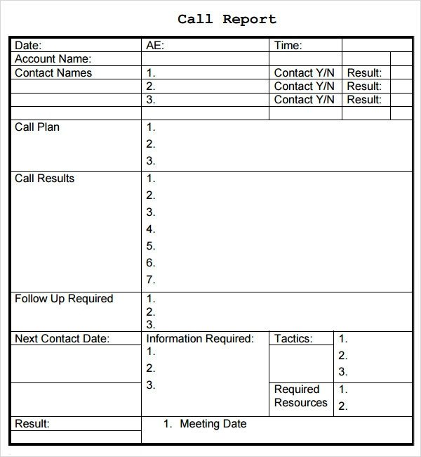 Sales Calls Report Template Sales Report Template 9 Free Pdf Doc Download
