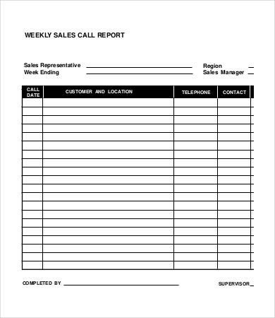 Sales Calls Report Template Weekly Sales Report 5 Free Excel Pdf Word Documents