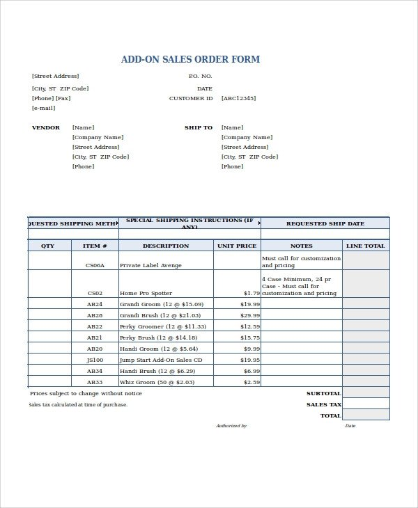 Sales order forms Templates Excel order form Template 19 Free Excel Documents