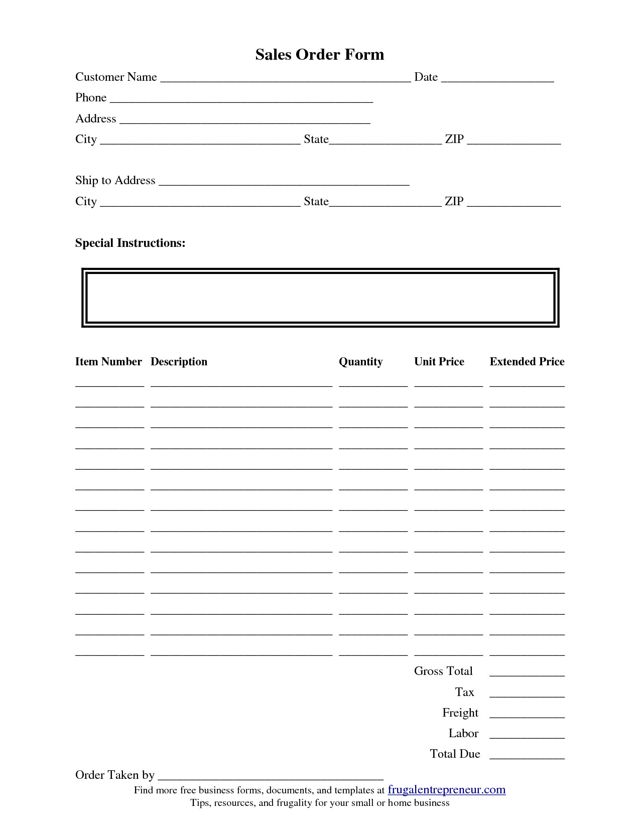 Sales order forms Templates order form Template