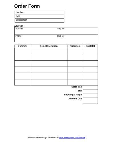 Sales order forms Templates Sales order form