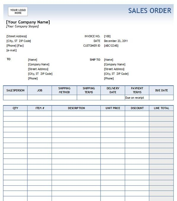 Sales order forms Templates Sales order with Blue Gra Nt Design Excel format