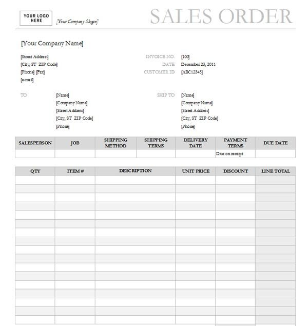 Sales order forms Templates Sales order with Garamond Gray Design Excel format