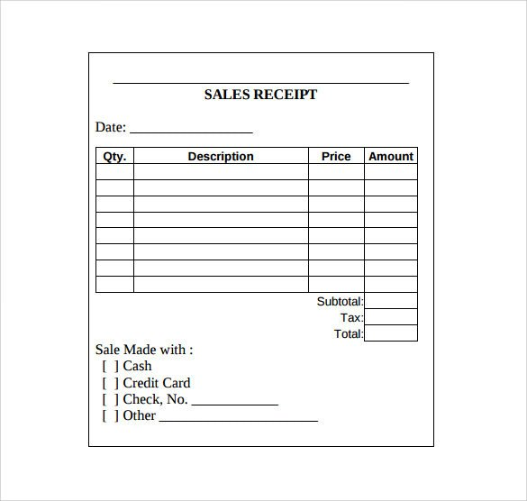 Sales Receipt Template Pdf Sales Receipt Template 10 Download Free Documents In