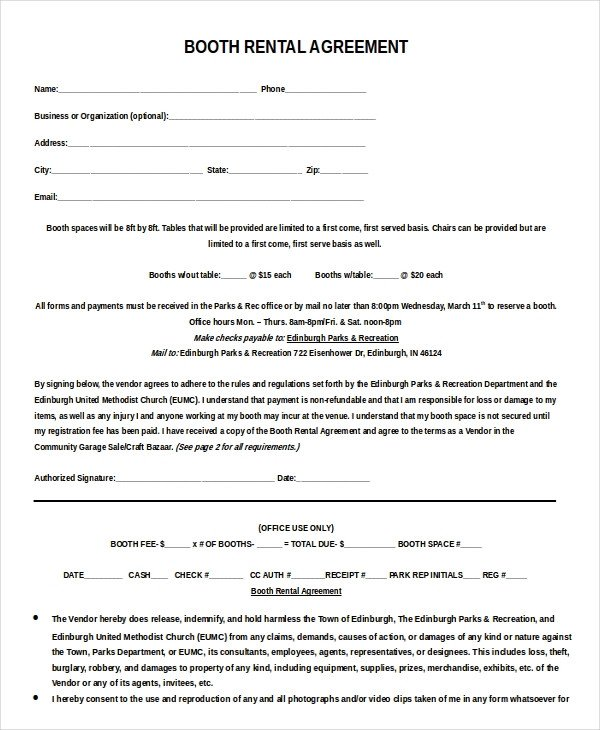 Salon Booth Rental Agreement 13 Booth Rental Agreement Templates – Free Sample