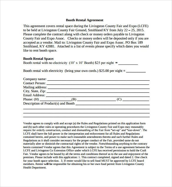 Salon Booth Rental Agreement Booth Rental Agreement 6 Free Documents Download In Pdf