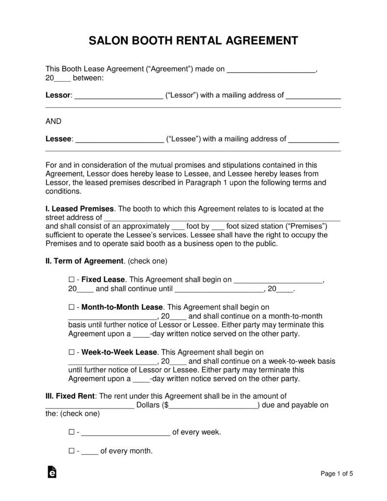 Salon Booth Rental Agreement Free Booth Salon Rental Lease Agreement Pdf