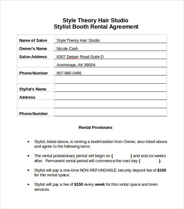 Salon Booth Rental Agreement Sample Booth Rental Agreement 8 Documents In Pdf Word