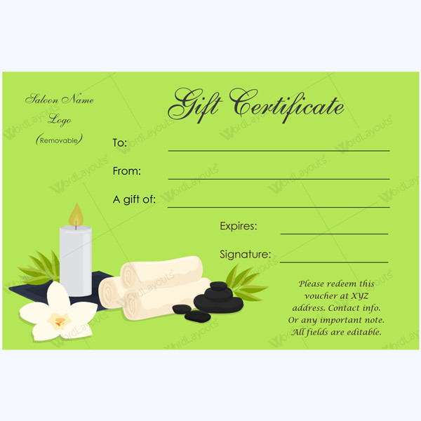Salon Gift Certificate Templates Gift Certificate 24 Word Layouts