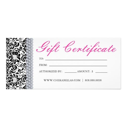 Salon Gift Certificate Templates Gift Certificates Salon Spa Pink Crown Jewellery Rack Card