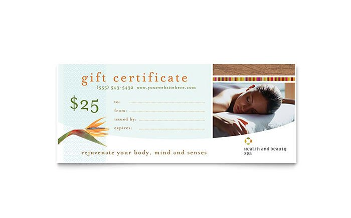 Salon Gift Certificate Templates Health & Beauty Spa Gift Certificate Template Word
