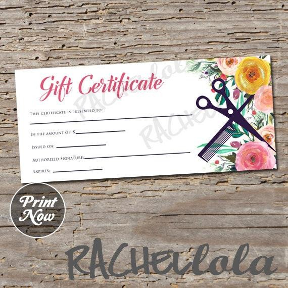 Salon Gift Certificates Templates Hair Salon Watercolor Floral Printable Gift Certificate