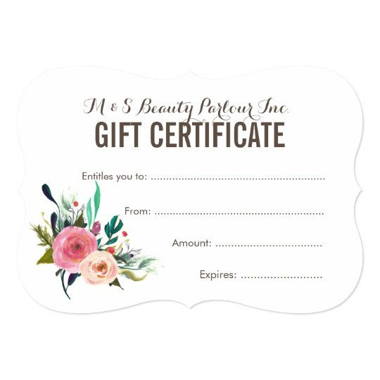 Salon Gift Certificates Templates Painted Floral Salon Gift Certificate Template