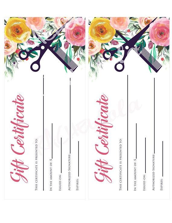 Salon Gift Certificates Templates Printable Hair Salon Gift Certificate Template Hair