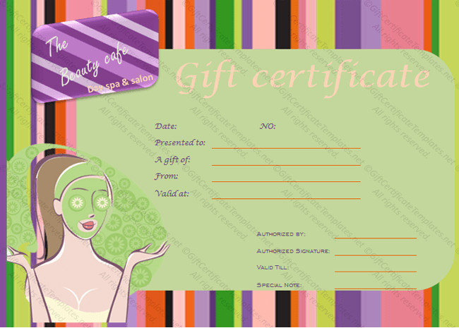 Salon Gift Certificates Templates Spa Gift Certificate Templates