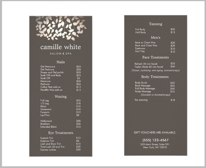 Salon Price List Template 15 Eye Catching Salon Menu Templates Psd Ai