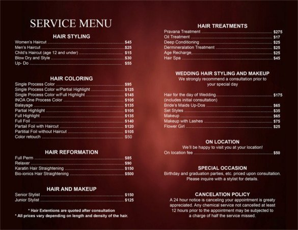 Salon Price List Template 25 Price List Templates Doc Pdf Excel Psd