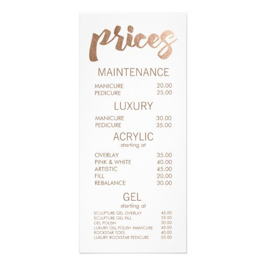 Salon Price List Template Bronze Salon Retail Menu Price List Template Cards