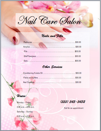 Salon Price List Template Nail Services Salon Price List Template