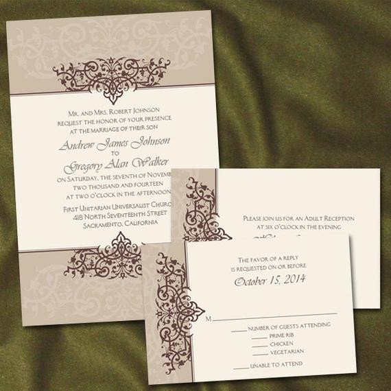 Same Sex Wedding Invitations Custom Filigree Gay Lesbian Same Wedding by Invigaytions