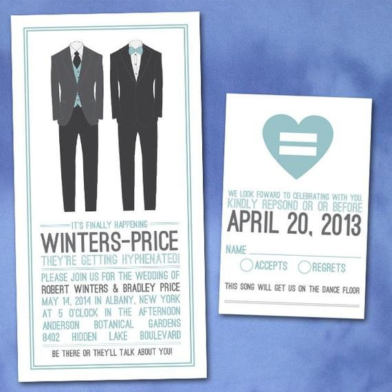 Same Sex Wedding Invitations Custom Modern Groom Gay Same Wedding by Invigaytions