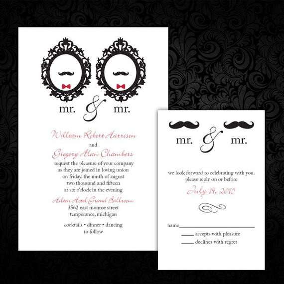 Same Sex Wedding Invitations Custom Mr and Mr Same Wedding Invitations by