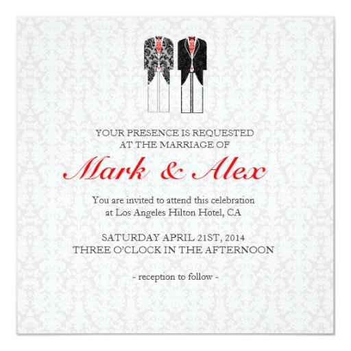 Same Sex Wedding Invitations Gray White & Red Same Couples Wedding Invite Custom