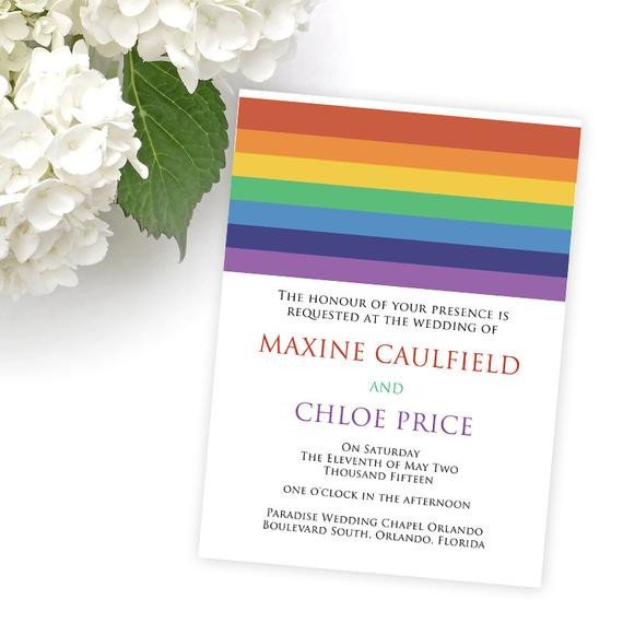 Same Sex Wedding Invitations Items Similar to Lgbt Wedding Invitations Same