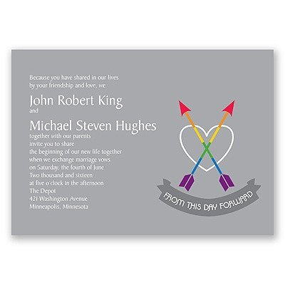Same Sex Wedding Invitations Rainbow Arrows Wedding Invitation