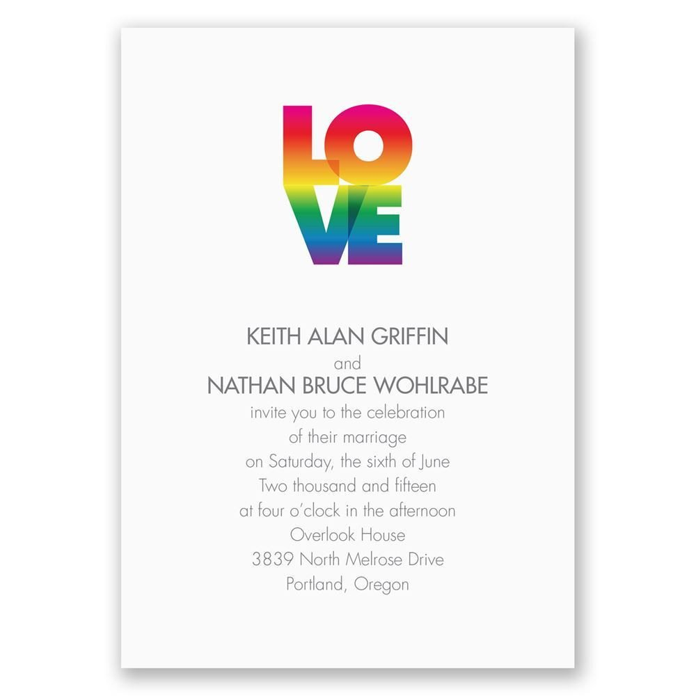 Same Sex Wedding Invitations Rainbow Love Invitation