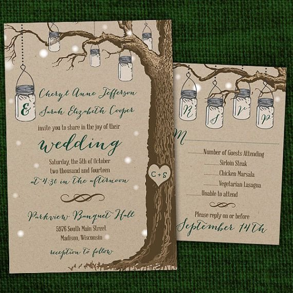 Same Sex Wedding Invitations Rustic Hanging Mason Jar Same Wedding Invitations