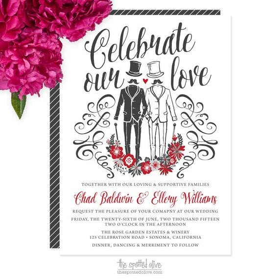 Same Sex Wedding Invitations Same Gay Wedding Invitations Diy Printable or