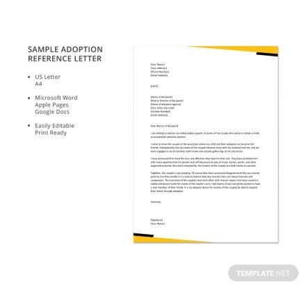 Sample Adoption Reference Letter Free Letter Reference Templates