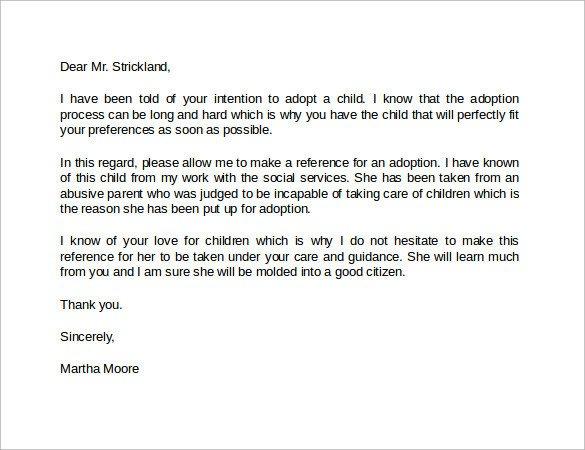 Sample Adoption Reference Letter Sample Reference Letter format 13 Download Free
