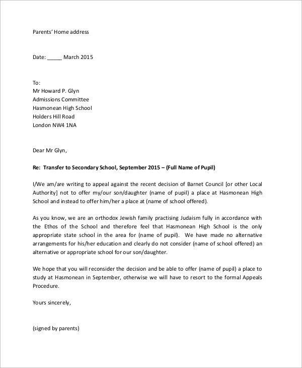 Sample Appeal Letter format 14 Appeal Letter Samples Pdf Word
