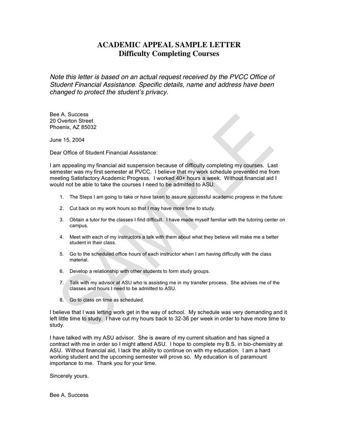 Sample Appeal Letter format Academic Appeal Sample Letter In Word and Pdf formats